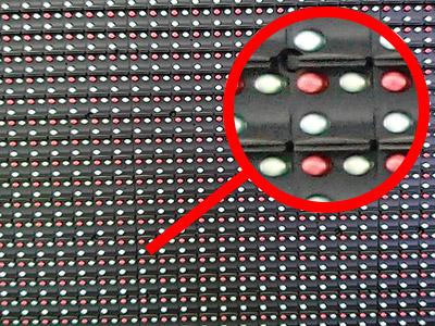 LED diodes on the LED screen close up