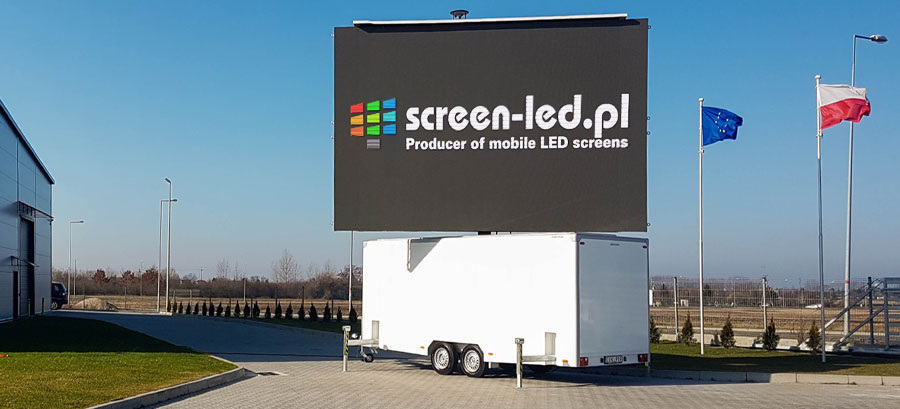 MobiLED banner - white mobile led screen with walls