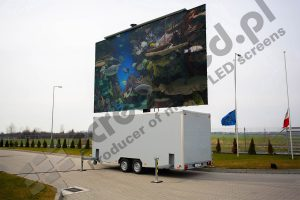 MobiLED trailer with turned on 28 sqm LED screen